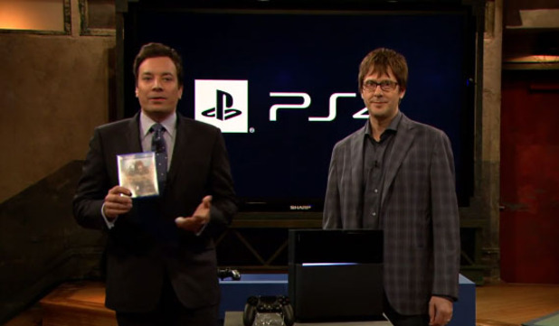 PlayStation 4 (console) Screenshot - Jimmy Fallon with the PS4 and Knack