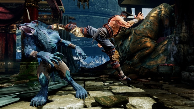 Jago kicking Sabrewulf's ass