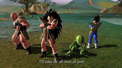 Dragon Ball Z: Battle of Z Screenshot - Napa, Vegeta, Saibaman and Raditz