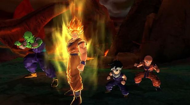 Dragon Ball Z: Battle of Z Screenshot - Super Saiyan Goku, Piccolo, Gohan and Krillin