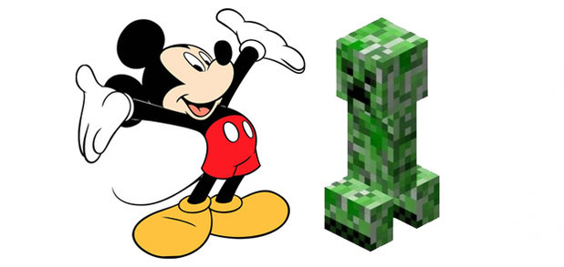 Minecraft Screenshot - Mickey Mouse with a creeper