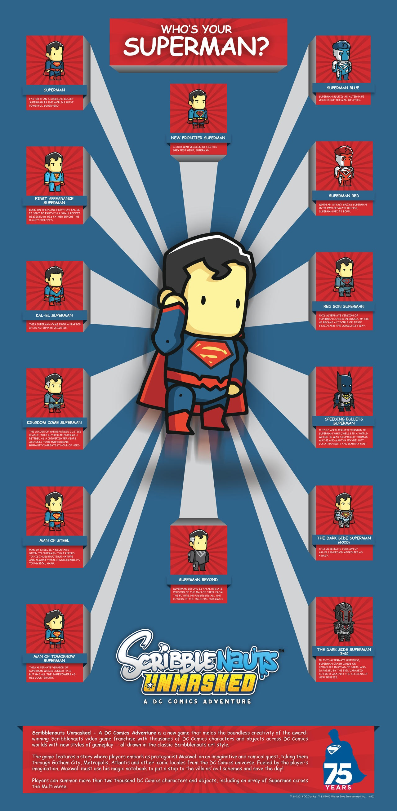 Scribblenauts Unmasked - Superman costumes