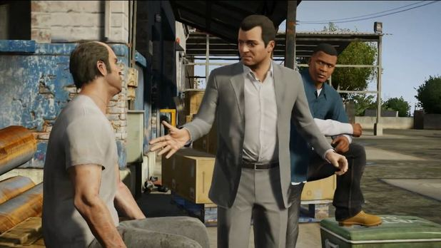 Grand Theft Auto V Screenshot - Main characters conversing