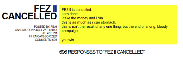 Fez II cancelled