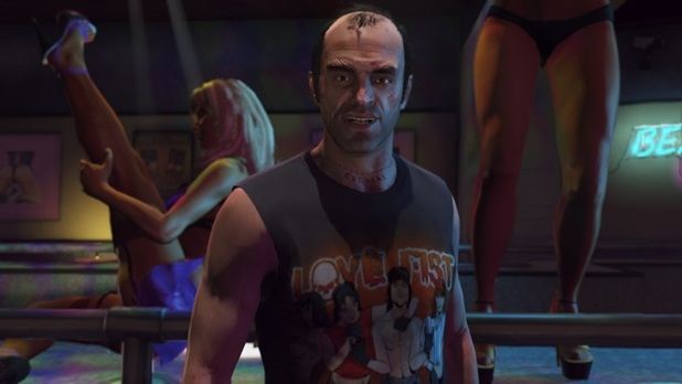 Grand Theft Auto V Screenshot - Trevor in a strip club