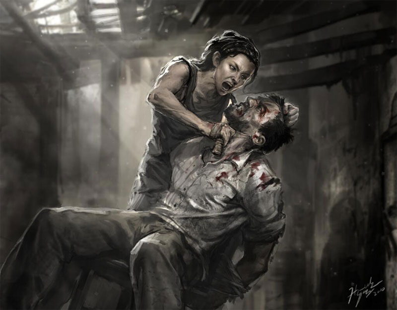 Tess holding a knife up to Joel's throat - TLoU ending concept art