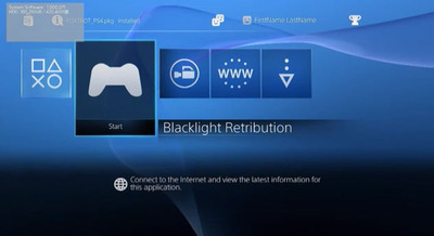 PS4 dev kit interface