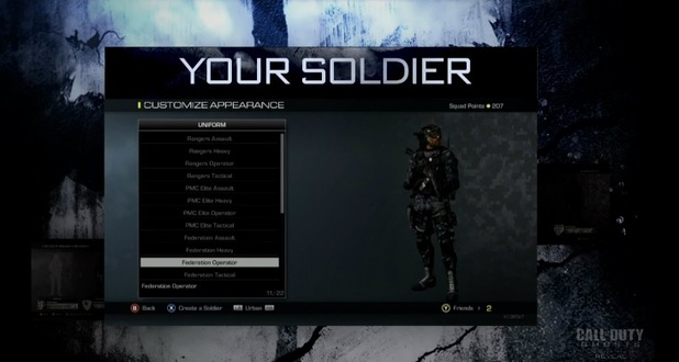 call of duty: ghosts soldier customization