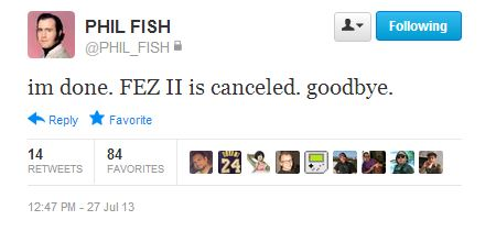 Fez II cancellation on Twitter