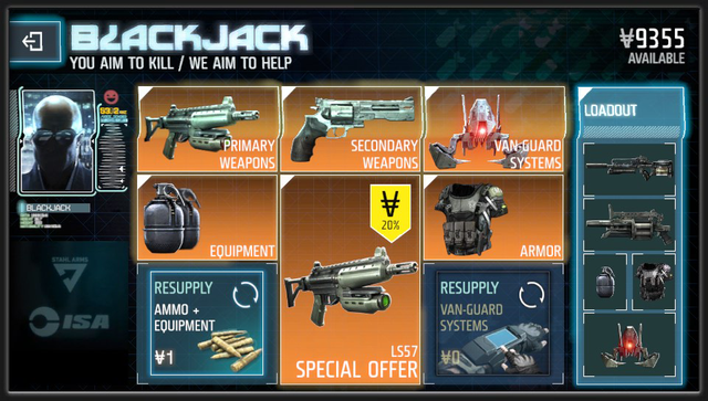 Killzone Blackjack weapon shop