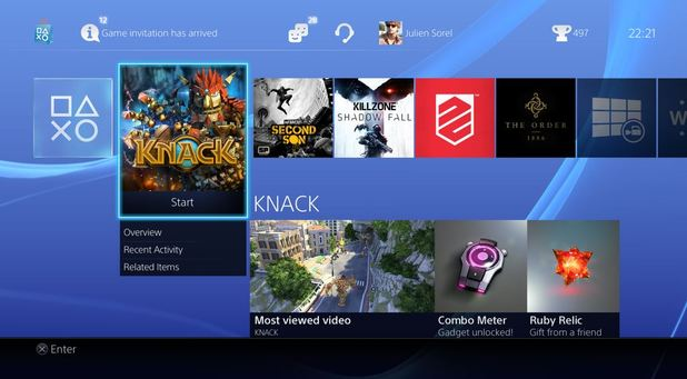 PS4 user interface Home screen