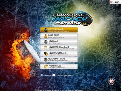 Franchise Hockey Manager 2014 Screenshot - Main Menu