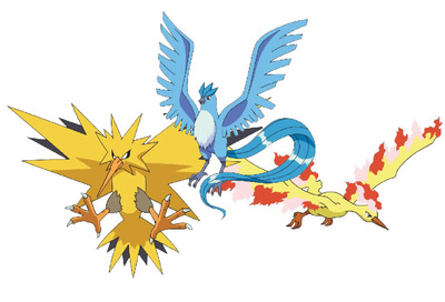 Pokémon X and Pokémon Y Screenshot - Articuno, Moltres, Zapdos