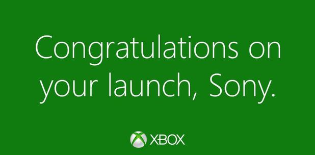 PlayStation 4 (console) Screenshot - Xbox congrats Sony PS4 launch