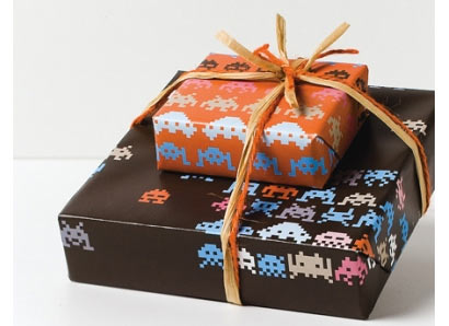 Space Invaders wrapping paper