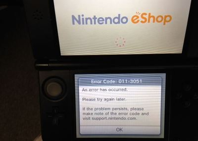 Nintendo 3DS XL Screenshot - eShop error 011-3051