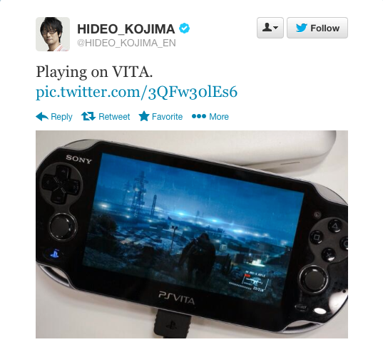 Kojima playing on Vita