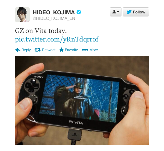 GZ on Vita tweet