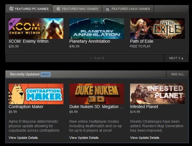 steam recently updated