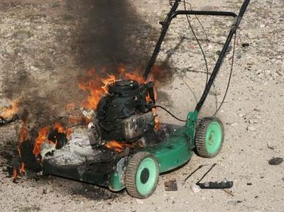 broken lawnmower of fire