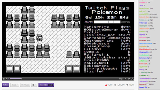 Twitch Plays Pokemon was the most watched game on Twitch last night. It's not hard to see why