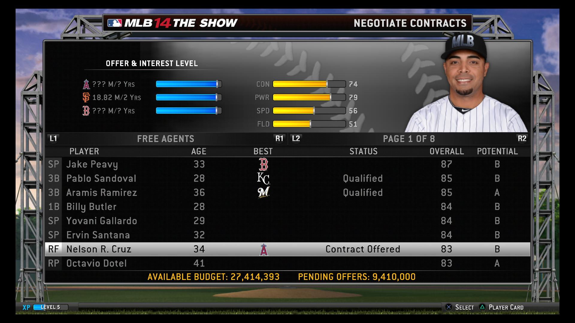 MLB 14 The Show free agent