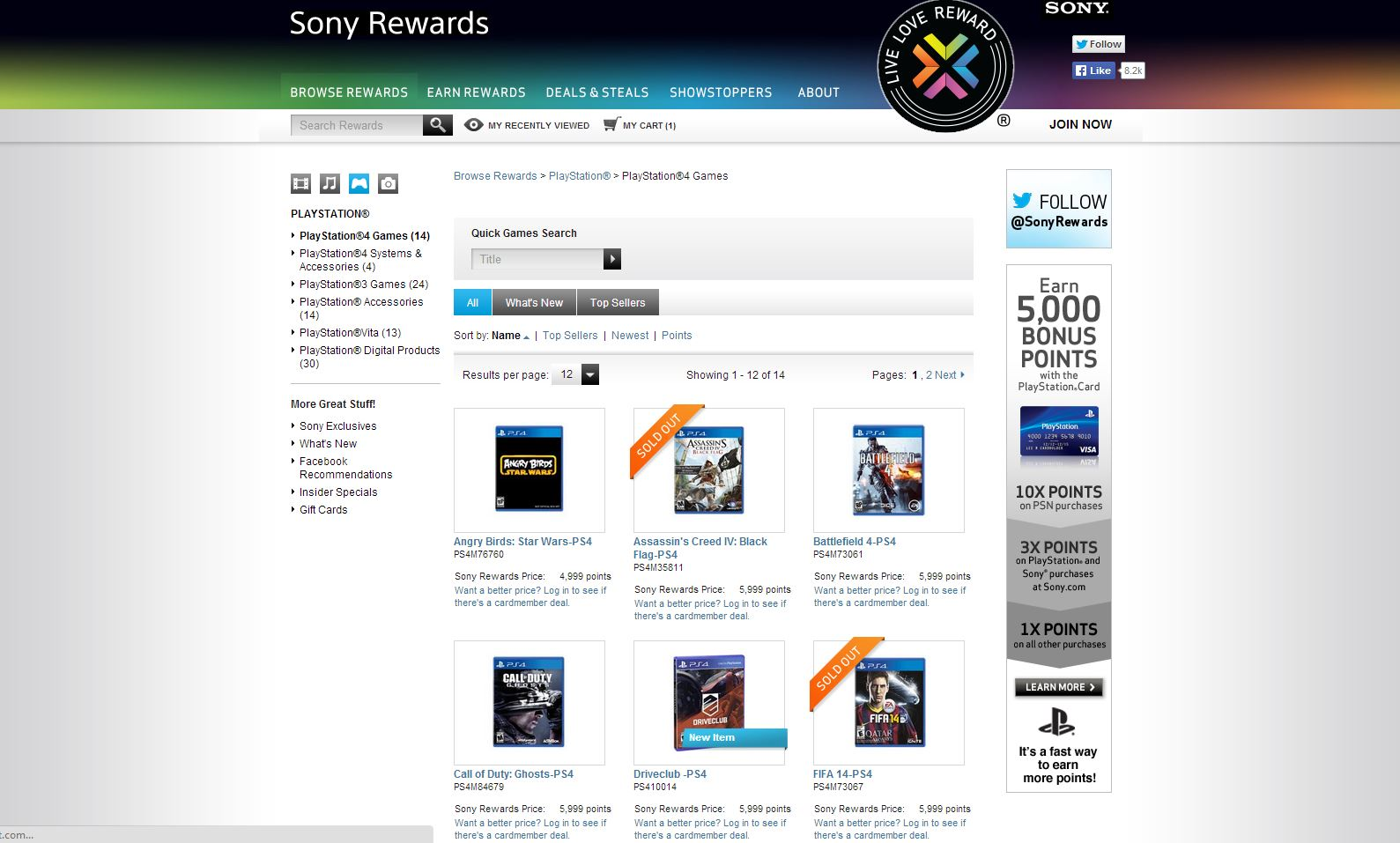 Driveclub Sony Rewards