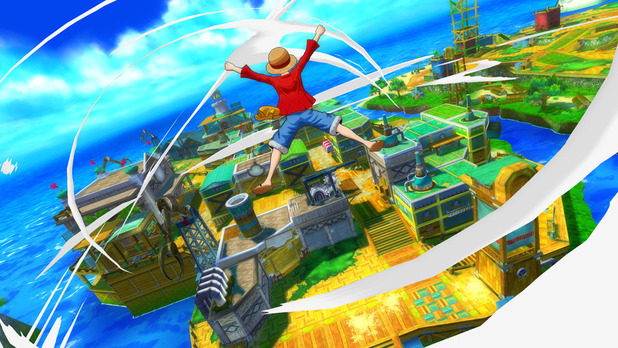 One Piece: Unlimited World Red Screenshot - Luffy flying through air