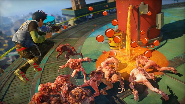Sunset Overdrive Screenshot - Shooting a group of zombies