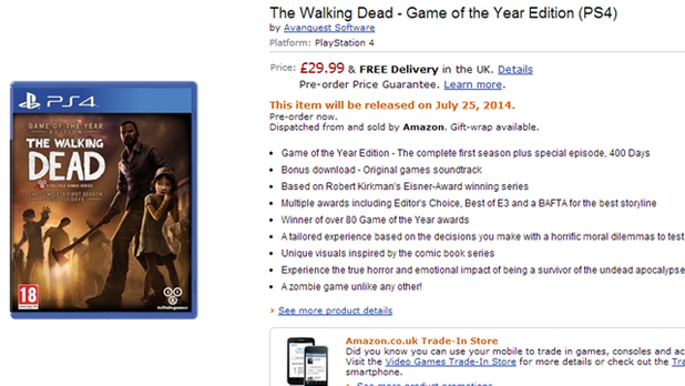 Hey look! A PS4 and Xbox One listing for The Walking Dead Season One has appeared!