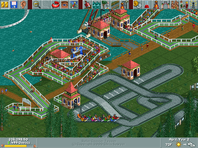 Park guests in Roller Coaster Tycoon sure love go-karts