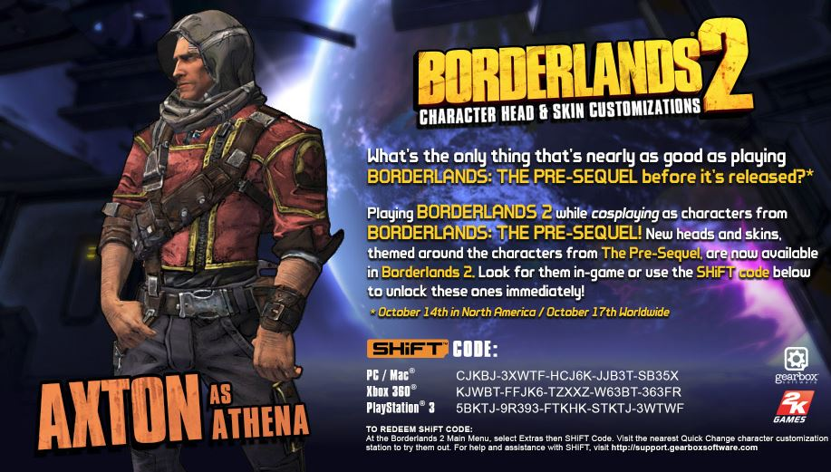 Here's Axton's Borderlands: The Pre-Sequel SHiFT code for ... Borderlands 2 Shift Codes