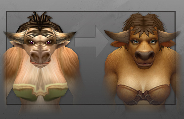 Blizzard unveils updated female Tauren models