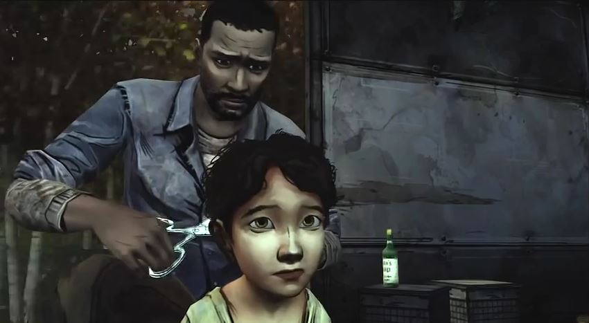 The Walking Dead Lee cuts Clementine's hair