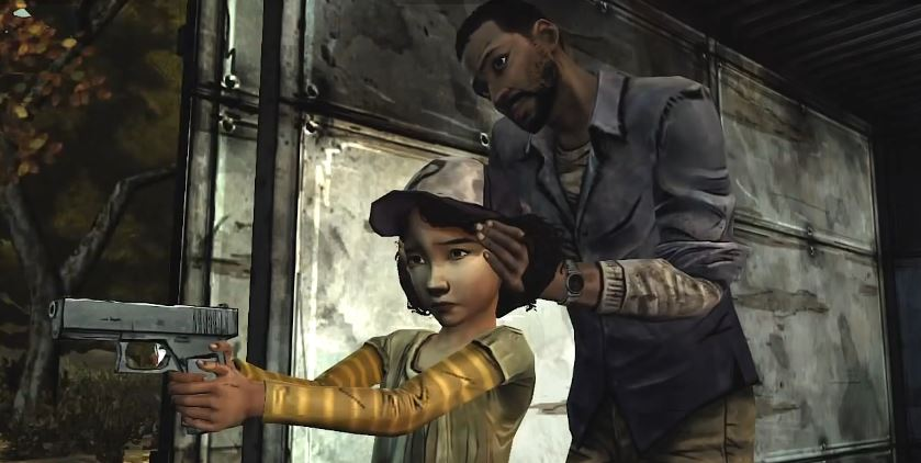 The Walking Dead Season 1 Lee teaches Clem to shoot