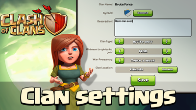 Clash of Clans Screenshot - Clan Settings