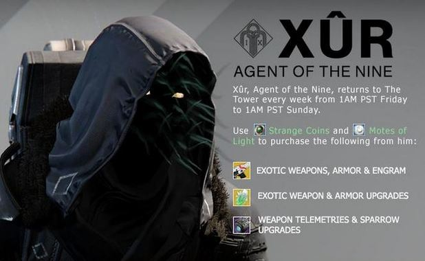 Destiny xur agent of the nine location and exotic items 2 27 15