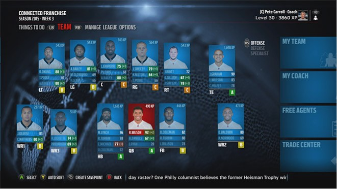 Chart in madden 15 so any change is welcome here the screenshot