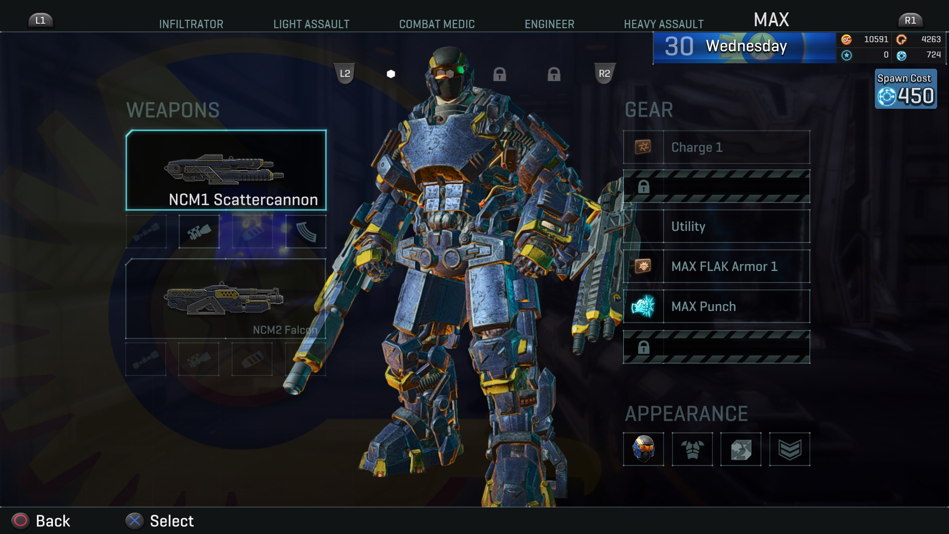 PlanetSide 2 Equipment Screen
