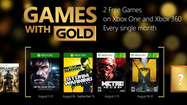 August 2015's Games with Gold announced for Xbox One and Xbox 360