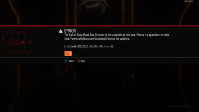 Call of Duty: Black Ops 3 multiplayer beta servers down with mysterious error code 'ABCDEF-HIJK-NU'