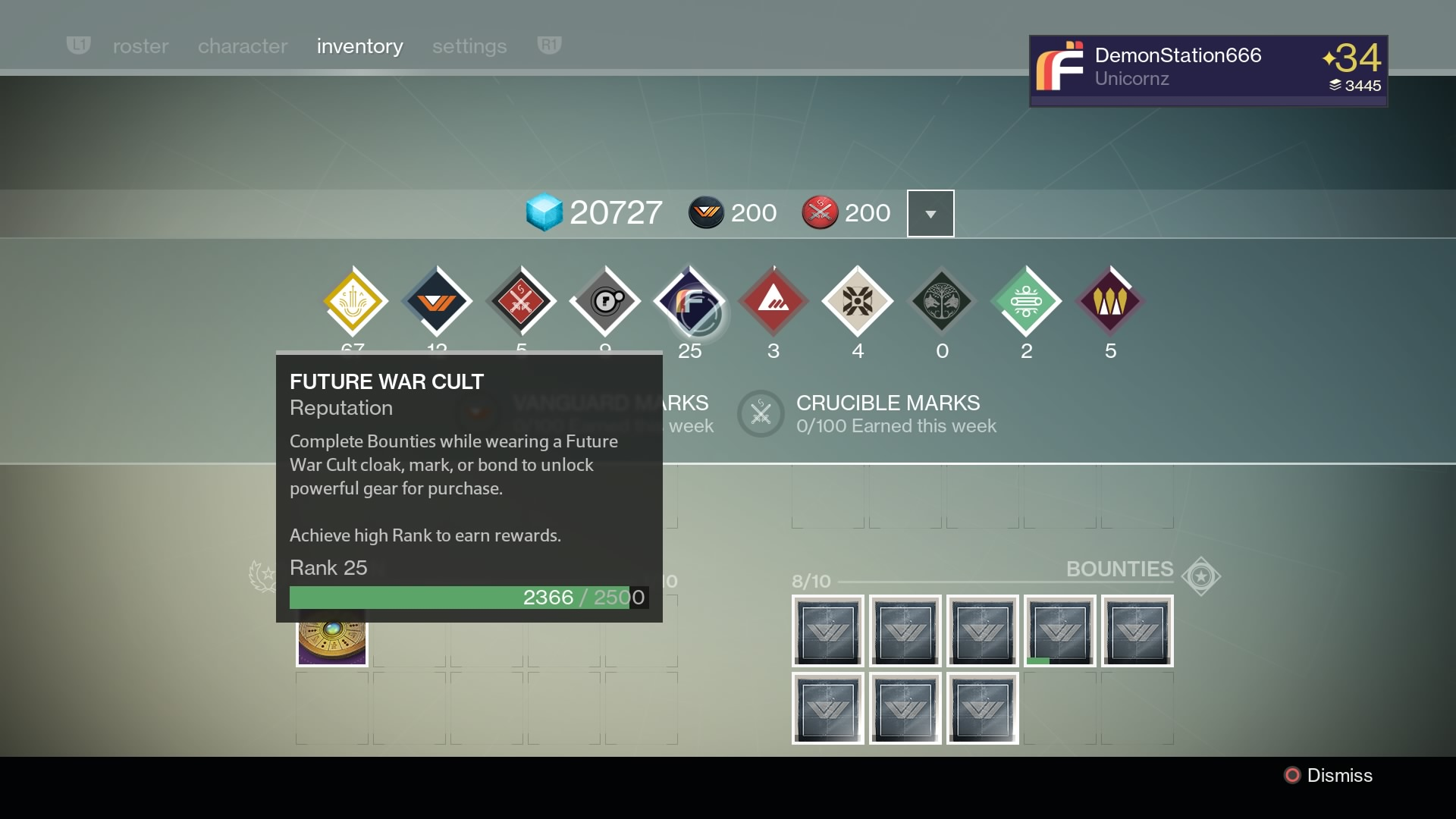 Destiny Rewards For Faction Rank