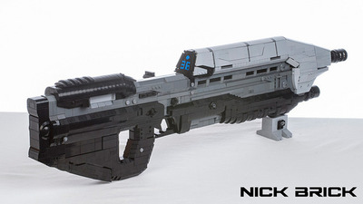 Check out this sweet Halo Assault Rifle made of Legos