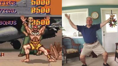 Dad reenacts Street Fighter II Turbo victory poses for our amusement