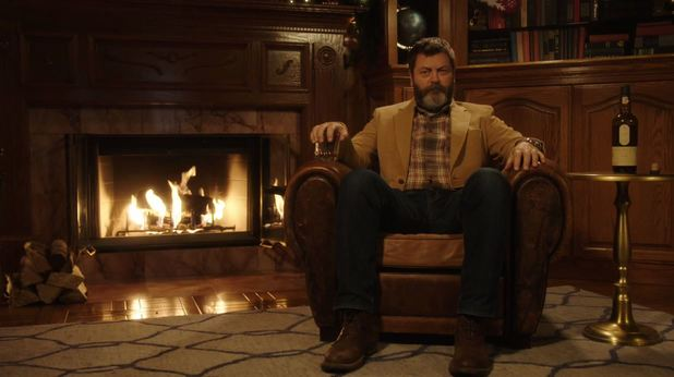 Relax and watch Nick Offerman drink Scotch Whiskey by a fireplace for 45 minutes