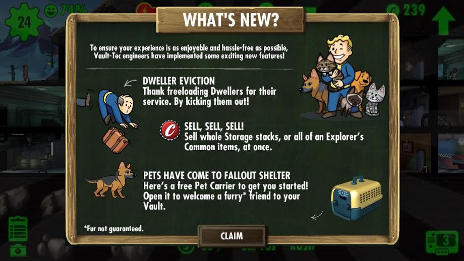 Fallout Shelter what's new