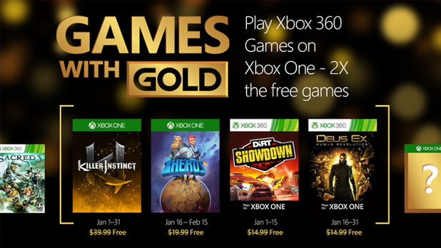 January 2016's Games with Gold for Xbox One and Xbox 360 revealed