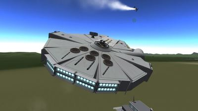Someone built the Millennium Falcon in Kerbal Space Program