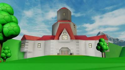 Player uses Forge to build Princess Peach's castle from Super Mario 64 in Halo 5