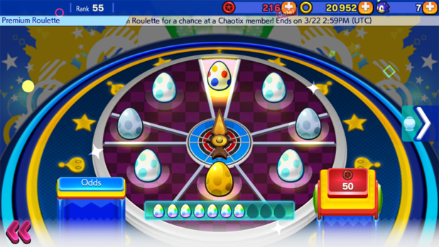 Sonic Runners roulette